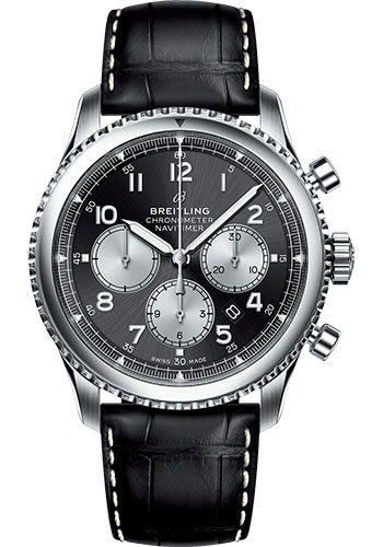 Breitling Watches - Aviator 8 B01 Chronograph 43 Stainless Steel - Croco Strap - Tang Buckle - Style No: AB0117131B1P1