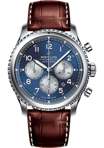 Breitling Watches - Aviator 8 B01 Chronograph 43 Stainless Steel - Croco Strap - Style No: AB0117131C1P2