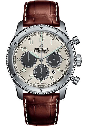 Breitling Watches - Aviator 8 B01 Chronograph 43 Stainless Steel - Croco Strap - Style No: AB01171A1G1P1