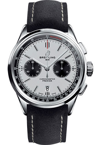 Breitling Watches - Premier B01 Chronograph 42 Nubuck Strap - Tang - Style No: AB0118221G1X2