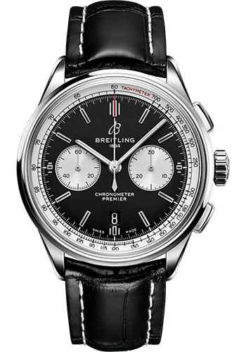 Breitling Watches - Premier B01 Chronograph 42 Stainless Steel - Croco Strap - Folding Buckle - Style No: AB0118371B1P1