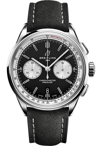 Breitling Watches - Premier B01 Chronograph 42 Stainless Steel - Leather Strap - Folding Buckle - Style No: AB0118371B1X1