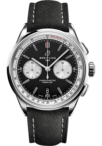Breitling Watches - Premier B01 Chronograph 42 Stainless Steel - Leather Strap - Tang Buckle - Style No: AB0118371B1X2