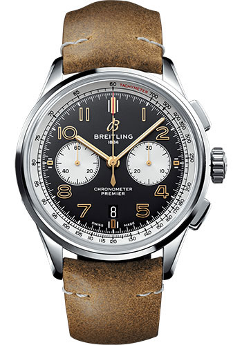 Breitling Watches - Premier B01 Chronograph 42 Leather Strap - Deployant - Style No: AB0118A21B1X1