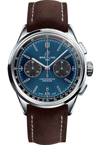 Breitling Watches - Premier B01 Chronograph 42 Nubuck Strap - Tang - Style No: AB0118A61C1X3