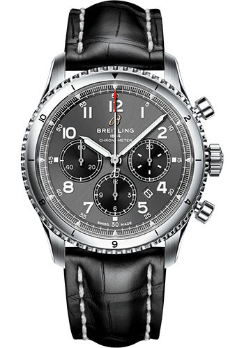 Breitling Watches - Aviator 8 B01 Chronograph 43 Stainless Steel - Croco Strap - Tang Buckle - Style No: AB0119131B1P1