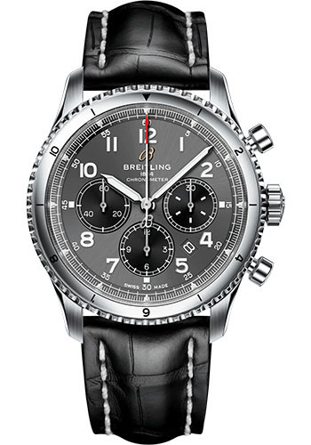 Breitling Watches - Aviator 8 B01 Chronograph 43 Stainless Steel - Croco Strap - Folding Buckle - Style No: AB0119131B1P2