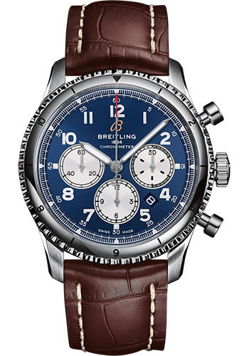 Breitling Watches - Aviator 8 B01 Chronograph 43 Stainless Steel - Croco Strap - Folding Buckle - Style No: AB0119131C1P4