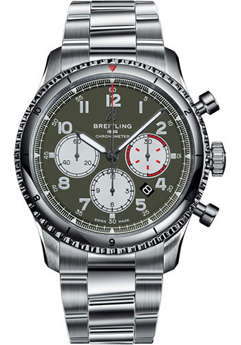 Breitling Watches - Aviator 8 B01 Chronograph 43 Stainless Steel - Professional III Bracelet - Style No: AB01192A1L1A1