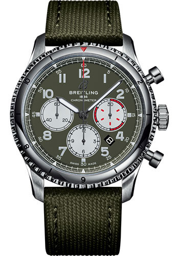Breitling Watches - Aviator 8 B01 Chronograph 43 Stainless Steel - Military Strap - Style No: AB01192A1L1X1