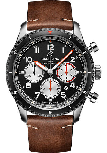 Breitling Watches - Aviator 8 B01 Chronograph 43 Stainless Steel - Leather Strap - Folding Buckle - Style No: AB01194A1B1X2