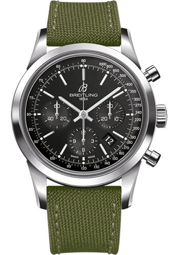 Breitling Watches - Transocean Chronograph Stainless Steel - Military Strap - Tang - Style No: AB015212/BA99/106W/A20BA.1