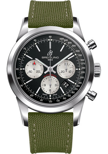 Breitling Watches - Transocean Chronograph Stainless Steel - Military Strap - Tang - Style No: AB015212/BF26/106W/A20BA.1