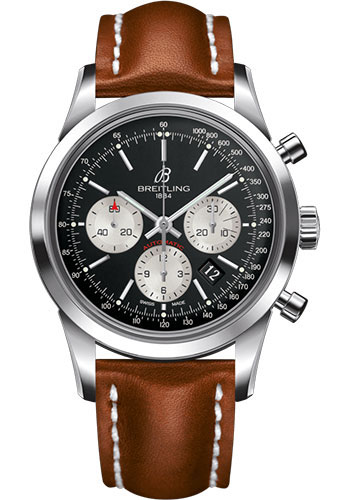 Breitling Watches - Transocean Chronograph Stainless Steel - Leather Strap - Tang - Style No: AB015212/BF26/433X/A20BA.1