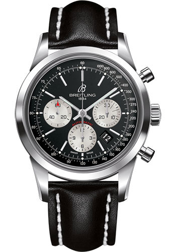 Breitling Watches - Transocean Chronograph Stainless Steel - Leather Strap - Tang - Style No: AB015212/BF26/435X/A20BA.1