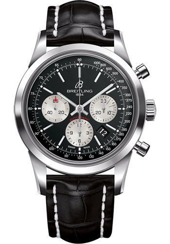 Breitling Watches - Transocean Chronograph Stainless Steel - Croco Strap - Deployant - Style No: AB015212/BF26/744P/A20D.1