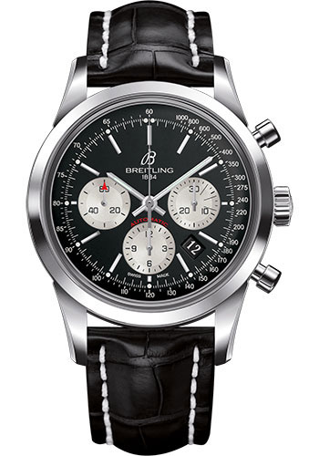 Breitling Watches - Transocean Chronograph Stainless Steel - Croco Strap - Deployant - Style No: AB015212/BF26-croco-black-deployant