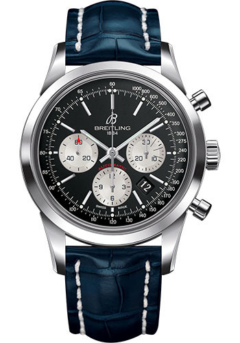 Breitling Watches - Transocean Chronograph Stainless Steel - Croco Strap - Deployant - Style No: AB015212/BF26-croco-blue-deployant