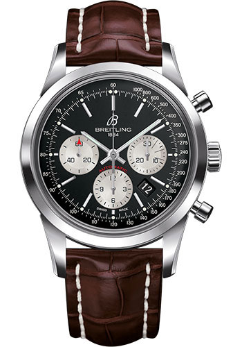 Breitling Watches - Transocean Chronograph Stainless Steel - Croco Strap - Tang - Style No: AB015212/BF26-croco-brown-tang