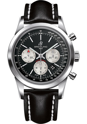 Breitling Watches - Transocean Chronograph Stainless Steel - Leather Strap - Deployant - Style No: AB015212/BF26-leather-black-deployant