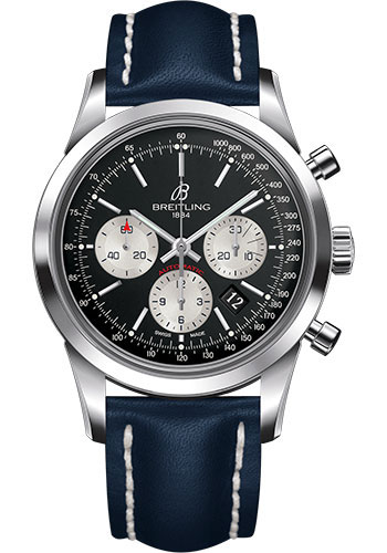Breitling Watches - Transocean Chronograph Stainless Steel - Leather Strap - Deployant - Style No: AB015212/BF26-leather-blue-deployant