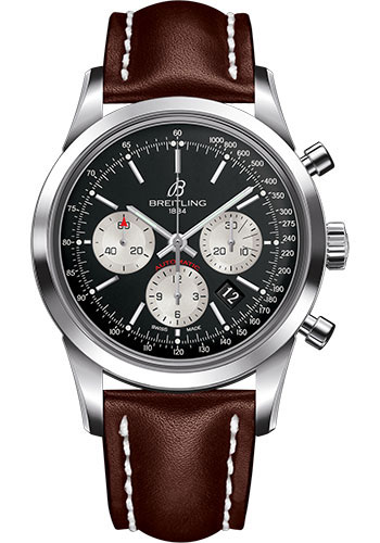 Breitling Watches - Transocean Chronograph Stainless Steel - Leather Strap - Deployant - Style No: AB015212/BF26-leather-brown-deployant