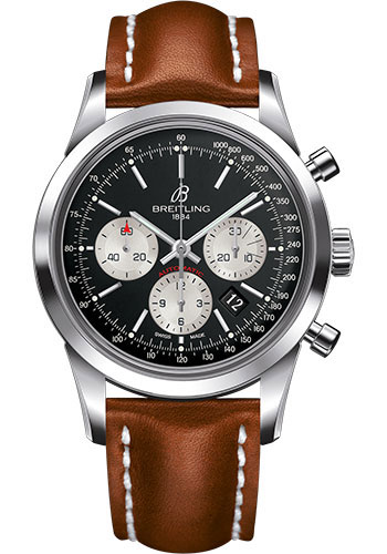 Breitling Watches - Transocean Chronograph Stainless Steel - Leather Strap - Deployant - Style No: AB015212/BF26-leather-gold-deployant