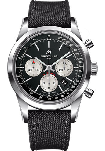 Breitling Watches - Transocean Chronograph Stainless Steel - Military Strap - Tang - Style No: AB015212/BF26-military-anthracite-tang
