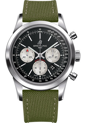 Breitling Watches - Transocean Chronograph Stainless Steel - Military Strap - Tang - Style No: AB015212/BF26-military-khaki-green-tang