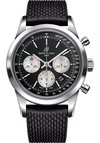 Breitling Watches - Transocean Chronograph Stainless Steel - Aero Classic Strap - Deployant - Style No: AB015212/BF26-rubber-aero-classic-black-deployant