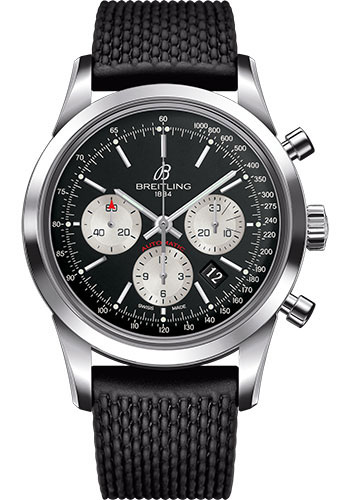 Breitling Watches - Transocean Chronograph Stainless Steel - Aero Classic Strap - Tang - Style No: AB015212/BF26-rubber-aero-classic-black-tang