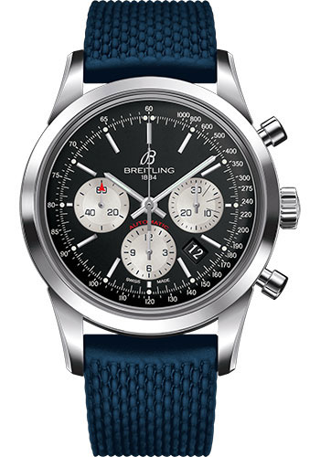 Breitling Watches - Transocean Chronograph Stainless Steel - Aero Classic Strap - Deployant - Style No: AB015212/BF26-rubber-aero-classic-blue-deployant