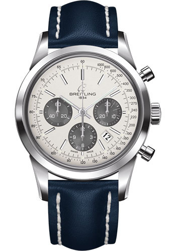 Breitling Watches - Transocean Chronograph Stainless Steel - Leather Strap - Deployant - Style No: AB015212/G724/112X/A20D.1