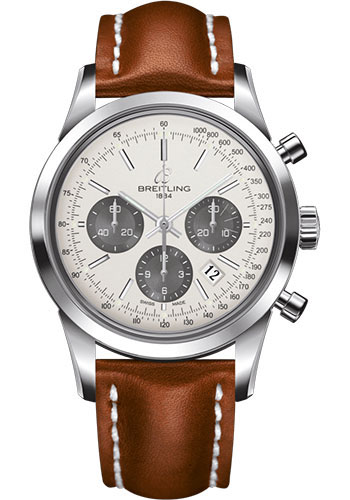Breitling Watches - Transocean Chronograph Stainless Steel - Leather Strap - Deployant - Style No: AB015212/G724/434X/A20D.1