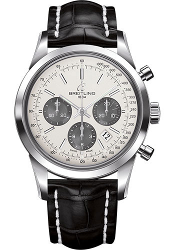 Breitling Watches - Transocean Chronograph Stainless Steel - Croco Strap - Tang - Style No: AB015212/G724-croco-black-tang