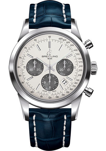Breitling Watches - Transocean Chronograph Stainless Steel - Croco Strap - Tang - Style No: AB015212/G724-croco-blue-tang
