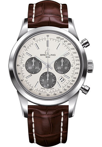 Breitling Watches - Transocean Chronograph Stainless Steel - Croco Strap - Deployant - Style No: AB015212/G724-croco-brown-deployant