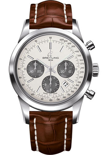 Breitling Watches - Transocean Chronograph Stainless Steel - Croco Strap - Tang - Style No: AB015212/G724-croco-gold-tang