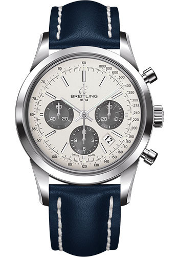 Breitling Watches - Transocean Chronograph Stainless Steel - Leather Strap - Tang - Style No: AB015212/G724-leather-blue-tang