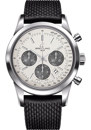 Breitling Watches - Transocean Chronograph Stainless Steel - Aero Classic Strap - Deployant - Style No: AB015212/G724-rubber-aero-classic-black-deployant