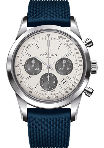 Breitling Watches - Transocean Chronograph Stainless Steel - Aero Classic Strap - Deployant - Style No: AB015212/G724-rubber-aero-classic-blue-deployant