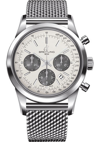 Breitling Watches - Transocean Chronograph Stainless Steel - Bracelet - Style No: AB0152121G1A1