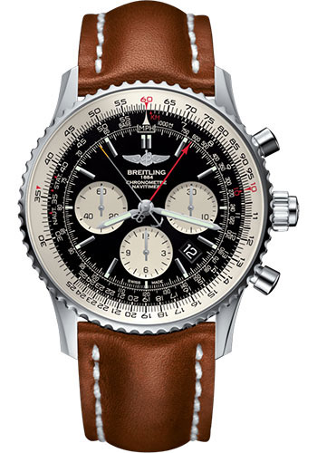 Breitling Watches - Navitimer B03 Chronograph Rattrapante 45 Stainless Steel - Leather Strap - Tang - Style No: AB031021/BF77/439X/A20BA.1