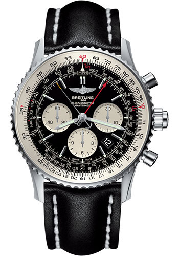 Breitling Watches - Navitimer B03 Chronograph Rattrapante 45 Stainless Steel - Leather Strap - Tang - Style No: AB031021/BF77/441X/A20BA.1