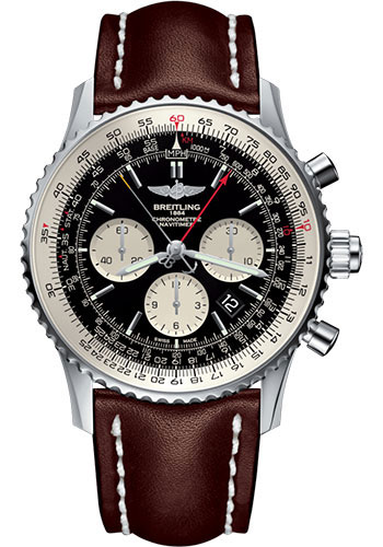 Breitling Watches - Navitimer B03 Chronograph Rattrapante 45 Stainless Steel - Leather Strap - Tang Buckle - Style No: AB031021/BF77/443X/A20BA.1
