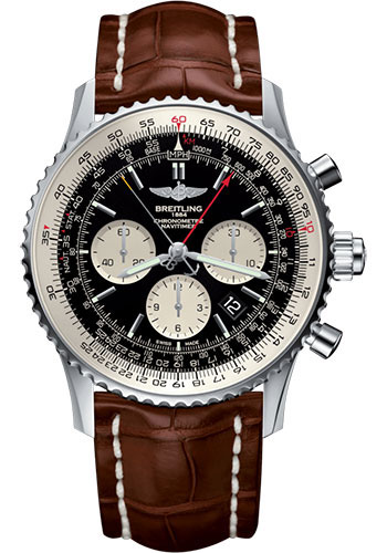 Breitling Watches - Navitimer B03 Chronograph Rattrapante 45 Stainless Steel - Croco Strap - Tang Buckle - Style No: AB031021/BF77/754P/A20BA.1