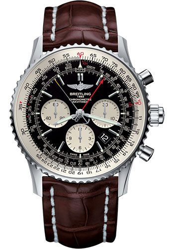 Breitling Watches - Navitimer B03 Chronograph Rattrapante 45 Stainless Steel - Croco Strap - Tang - Style No: AB031021/BF77/756P/A20BA.1