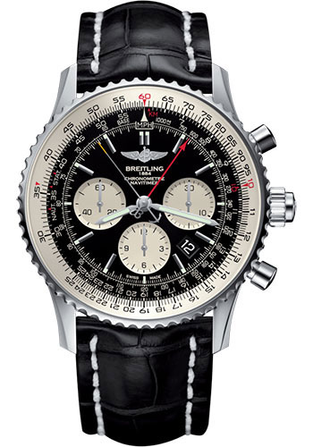 Breitling Watches - Navitimer B03 Chronograph Rattrapante 45 Stainless Steel - Croco Strap - Deployant - Style No: AB031021/BF77/761P/A20D.1