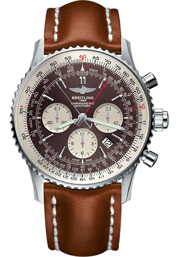 Breitling Watches - Navitimer B03 Chronograph Rattrapante 45 Stainless Steel - Leather Strap - Tang - Style No: AB031021/Q615/439X/A20BA.1
