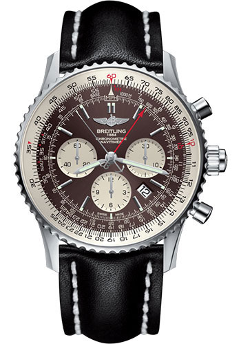 Breitling Watches - Navitimer B03 Chronograph Rattrapante 45 Stainless Steel - Leather Strap - Tang - Style No: AB031021/Q615/441X/A20BA.1